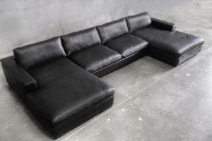black leather coach